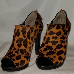 Leopard print open toe booties